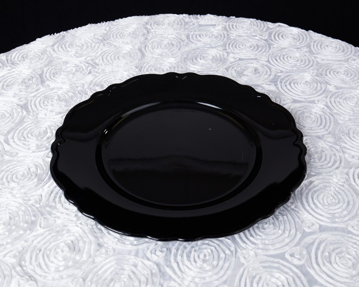 Black and white stripe charger plates - Wavy Edge Charger Plates