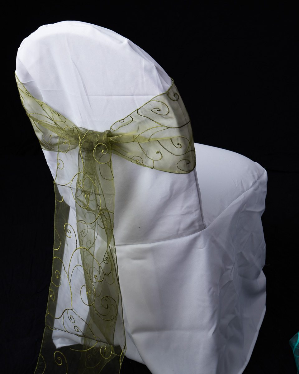 Embroidered Chair Sashes Occasions Linen Rental