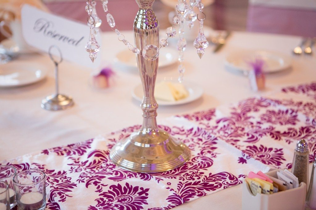 Damask velvet eggplant table runner