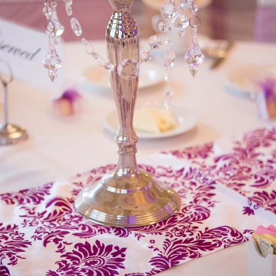 Damask Velvet Eggplant Pattern Table Runner