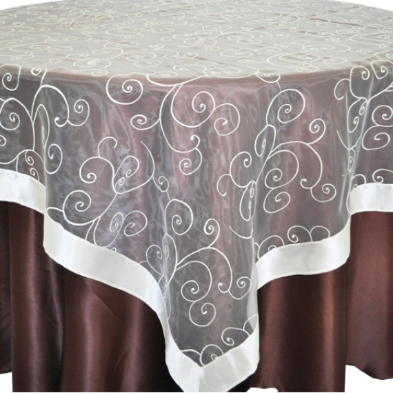 Organza Swirl Round Table Overlay